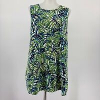 J Jill Wearever Collection Top Knit Tank Palm Leaf Print Green Size Medium