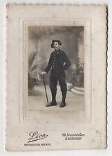 PHOTO CABINET - CHASSEUR ALPIN - Léon Grenoble - Vers 1910-1920 Canne Uniforme