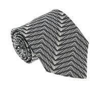 Missoni I0822 Black/Cream Herringbone 100% Silk Tie