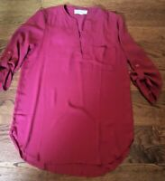 Pink Rose Maroon Red Women's Size Small Tunic Top Blouse 3/4 Sleeves