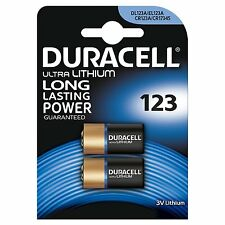 2 x Duracell CR123 3V Ultra Lithium Photo Camera Battery