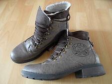 Damen Stiefel luxus Winter Kunst Fell gefuttert Schnurstiefel Boot 9409 Olive 36