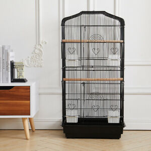 Large Bird Cage Standing Metal Parrot Lovebird Canary Finch Aviary Budgie Stand