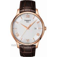 TISSOT tradición caballero oro rosa piel marrón fino reloj T0636103603800