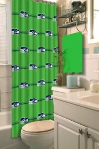 SEATTLE SEAHAWKS NFL FABRIC SHOWER CURTAIN  NEW IN PACKAGING  $34