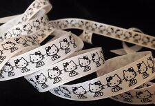 5/8 inch HELLO KITTY kitten cat black print on white grosgrain RIBBON Sanrio 1yd