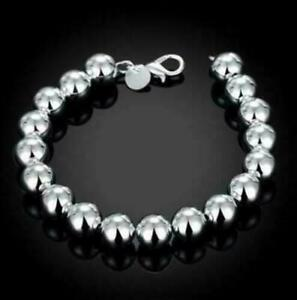 Womens 925 Sterling Silver 10mm Beads Ball String Chain Fashion Bracelet #B293