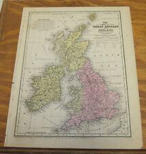 1839 Antique COLOR Mitchell Map///ENGLAND, SCOTLAND, IRELAND, WALES