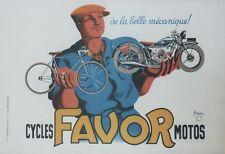 """""""CYCLES MOTOS FAVOR"""" Affiche originale entoilée 1937 Litho P. BELLANGER 64x44cm"""