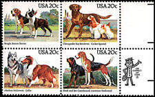 4 Dogs Stamps Beagle Boston Terrier, Black and Tan Coonhound American Foxhound +