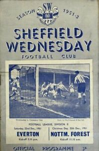 1951/2  Sheffield Wednesday v Everton / Nottingham Forest  ( 2 in 1)
