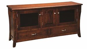 Amish Handcrafted Berkley Large Plasma TV Media Stand Solid Wood Doors Drawers