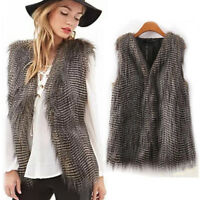 New Women Jacket Coat Sleeveless Waistcoat Gilet Faux Fur Vest Outwear Coat AB