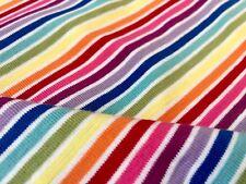 "Multi Striped White Rainbow Jersey Knit Elastane 4W Stretch Cuff Fabric 61"" wide"