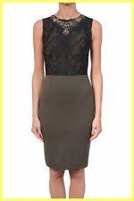 NWT $540 AMEN GREEN STRETCH JERSEY BLACK LACE JEWELS SHEATH DRESS Sz 44 6 8 S M