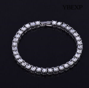 ATOP Men's 1Row Gold Plated Silver Black Lab Diamond Tennis Bracelet