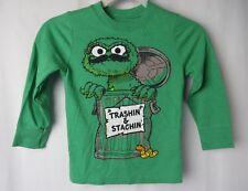 Old Navy Boys Collectibilitees T Shirt Long Sleeve Oscar Grouch Green 5T  #7435
