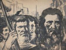 Vintage watercolor drawing males portrait