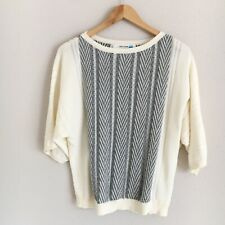 Anthropologie Sparrow Womens Size XXSP Cream & Gray Knit Dolman Sleeve Sweater