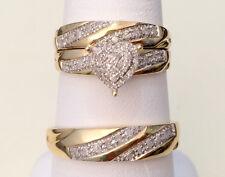 Yellow Gold Men Women His Her Diamond Heart Shape Bridal Wedding Trio Ring set