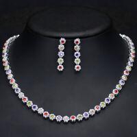 CWWZircons Multi Color Cubic Zirconia Women Wedding Choker Necklace Earrings Set
