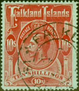 Falkland Islands 1914 10s Red Green SG68 Superb Used Stamp