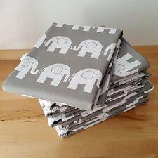 Weiße Elefanten auf grau 100% Baumwolle Stoff Kinder Designer vom 3 Meter