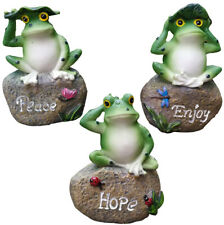 3 Resin Frogs Sitting on Stone Sculptures Outdoor Decor Fairy Garden Ornaments