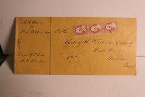 SCOTT 10,11,25,26,41 TRIPLE STAMP ON ENVELOPE - SAN AUGUSTA, TEXAS - 1859 COOL!
