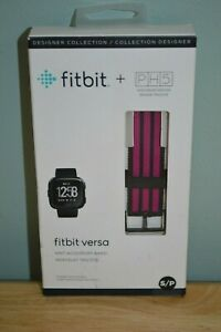 New Genuine FITBIT PH5 Versa Knit Accessory Band Pink/Black Size Small