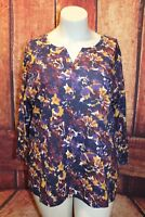 Northcrest Woman's 3/4 Sleeve Knit Top V Neck Purple Floral
