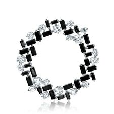 FASHION ATTITUDE 18k white gold gp made with Swarovski CZ crystal brooch black