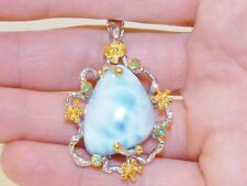 GENUINE! 23.08ct Larimar & Emerald Solid Sterling Silver 925 Pendant