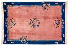 Großteppich Antique Finish ca. 190x270 cm Lachs-Blau Schurwolle handgeknüpft