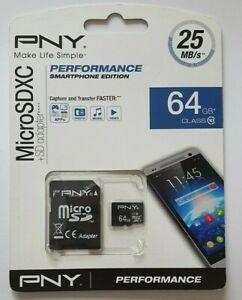 PNY Micro SDXC 64GB Class 10 25mb/s Performance Smartphone Edition Freepost