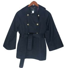 J.CREW  4 Jacket Navy Blue Trench Coat Short Swing Pea Double Breasted Tie Waist
