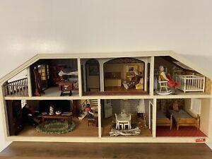 Vintage Lundby Dollhouse Lot Of Dollhouse Furniture & Dolls MCM Yellow Large