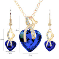 Fashion Gold Plated Heart Crystal Necklace Earring Jewelry Set US