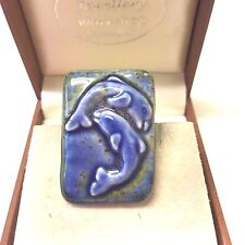 Vintage Jewellery Lovely  Porcelain Dolphin Brooch Pin