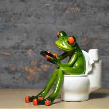 More details for comical frogs on the toilet frog resin figure ornament home decor new & boxed