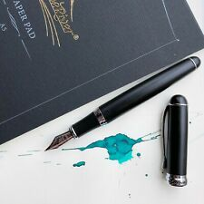 JINHAO X750 Matte Black Silver Plated Trim Fountain Pen Fine Nib