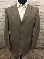 Canali 3 Btn Wool Brown Houndstooth Sport Coat Suit Jacket Italy EU 50R US 40R