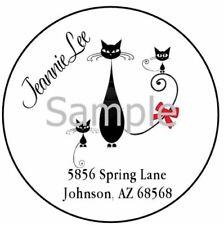 Classy Black Kitty Cat Laser Round Address Labels Glossy Amp Matte