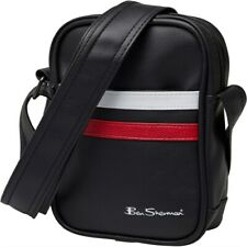 Ben Sherman Mens Black/Red/White Stripe Small Crossbody Travel Money Flight Bag