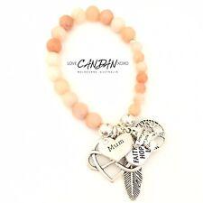 Love You Mum Infinity Heart Hope Faith Angel Feather Friendship Charm Bracelet