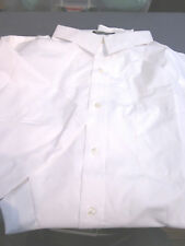 NEW! LANDS END OUTFITTERS S/S  MENS SPREAD COLLAR WORK SHIRT WHITE 18