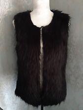 BNWT Black Faux Mongolian Fur Gilet Size M Debenhams RRP £28