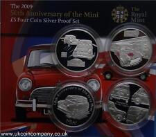2009 alderney silver proof set 50th anniversaire de la mini £ 5 quatre pièces