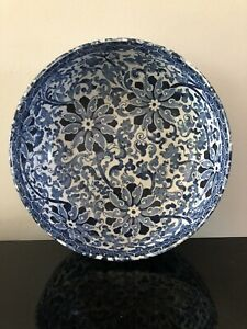 Antique Bursley Ware Blue & white  Floral Chung Fruit Bowl