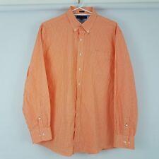 Tommy Hilfiger Men's Short Sleeve Casual Shirts Orange Cotton Sz 34-35